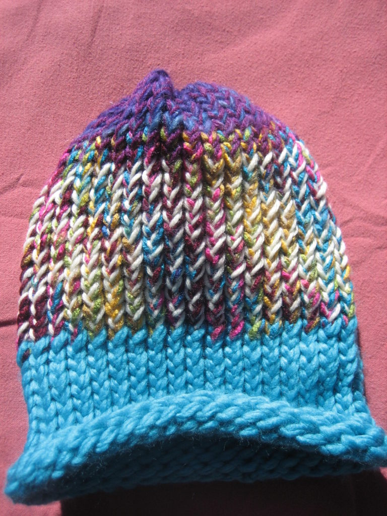 This is the colorful hat I made for Lou's little son.