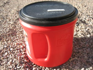My current pee bucket with lid.
