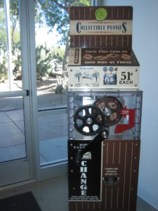 Penny pressing machine at the Ethel M. chocolate factory.